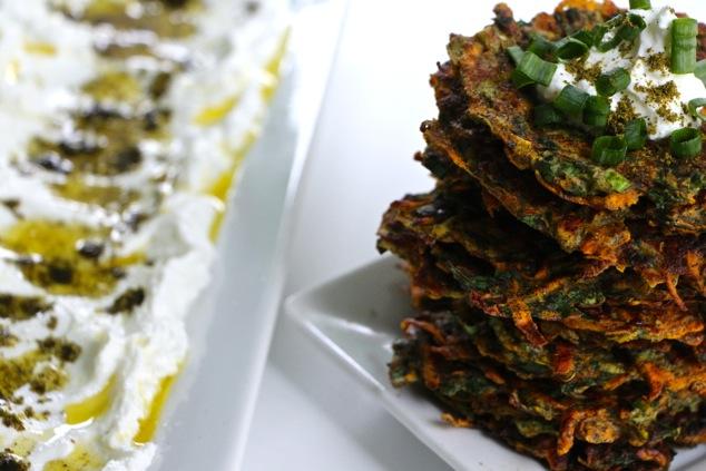 sweet potato kohlrabi latkes served with labneh