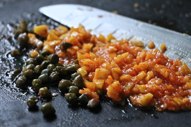 chopped preserved lemon and capers