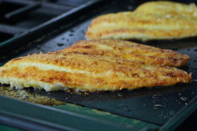 frying the fish filets