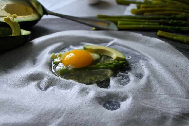 Brik filling of asparagus avocado and egg