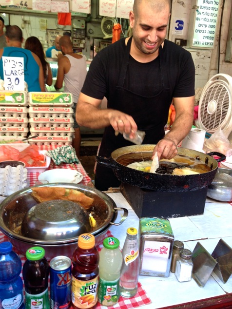 frying Brik in the Shuk market
