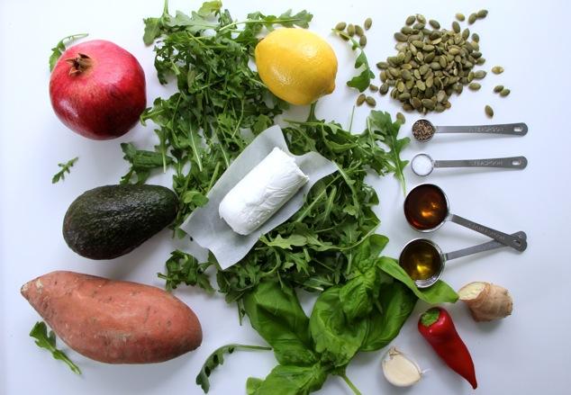 Arugula Sweet Potato salad ingredients