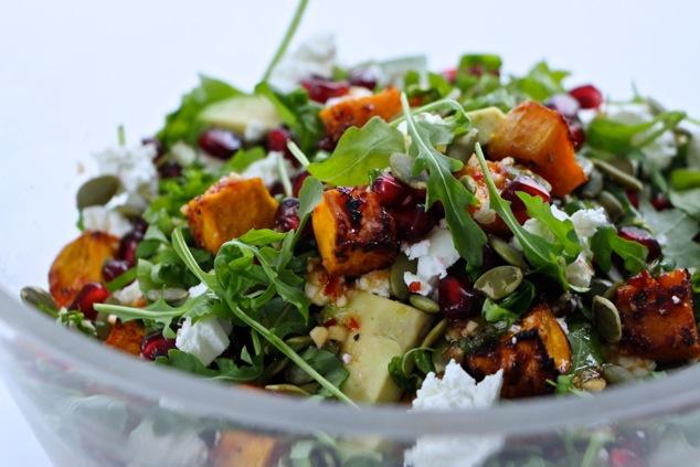 arugula salad in a bowl up close