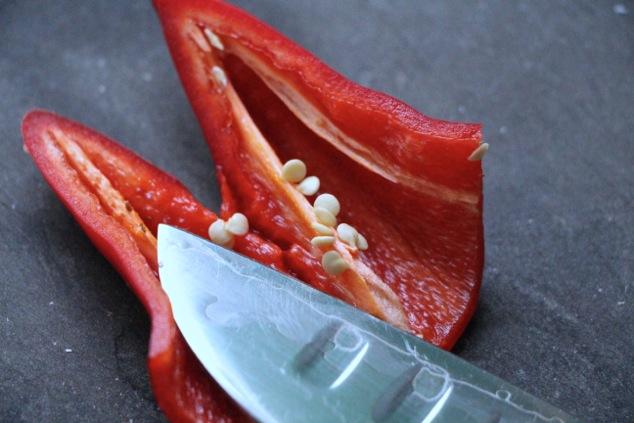 cutting red hot fresno pepper