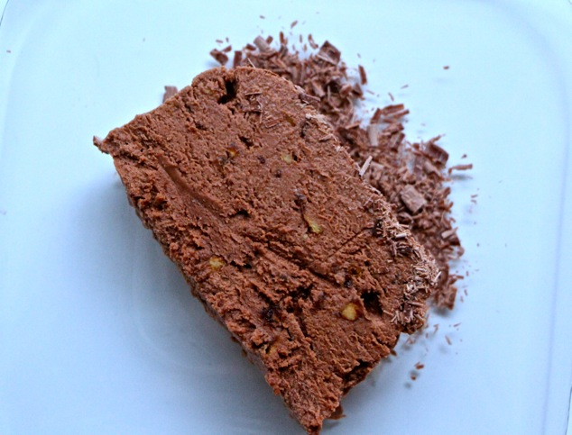 serving a piece of Nutella mousse cake